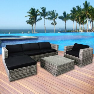 Gilford 6 Piece Rattan Sectional Set with Cushions