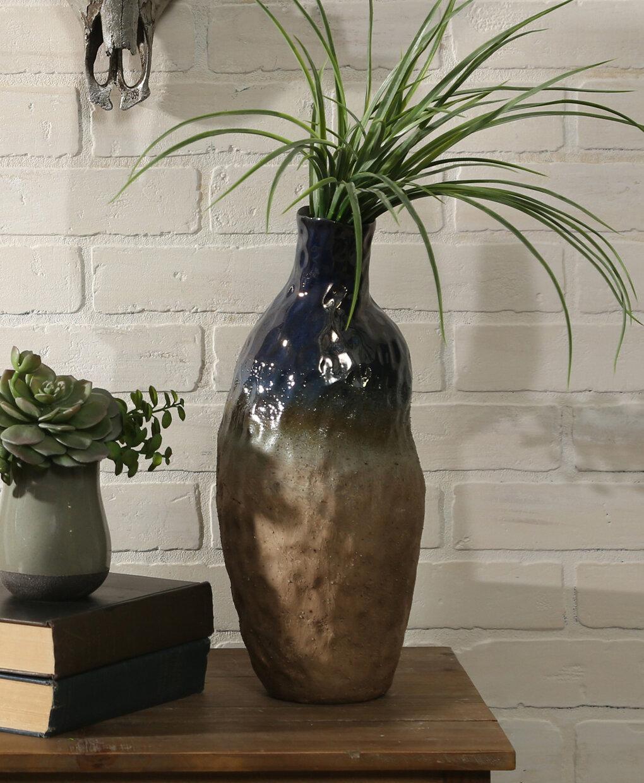 World Menagerie Mckayla Black Brown 15 Indoor Outdoor Ceramic Table Vase Wayfair