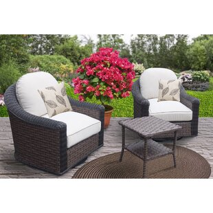 Geddes 3 Piece Sunbrella Conversation Set with Cushions