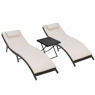 Otavio Reclining Chaise Lounge Set with Cushions and Table