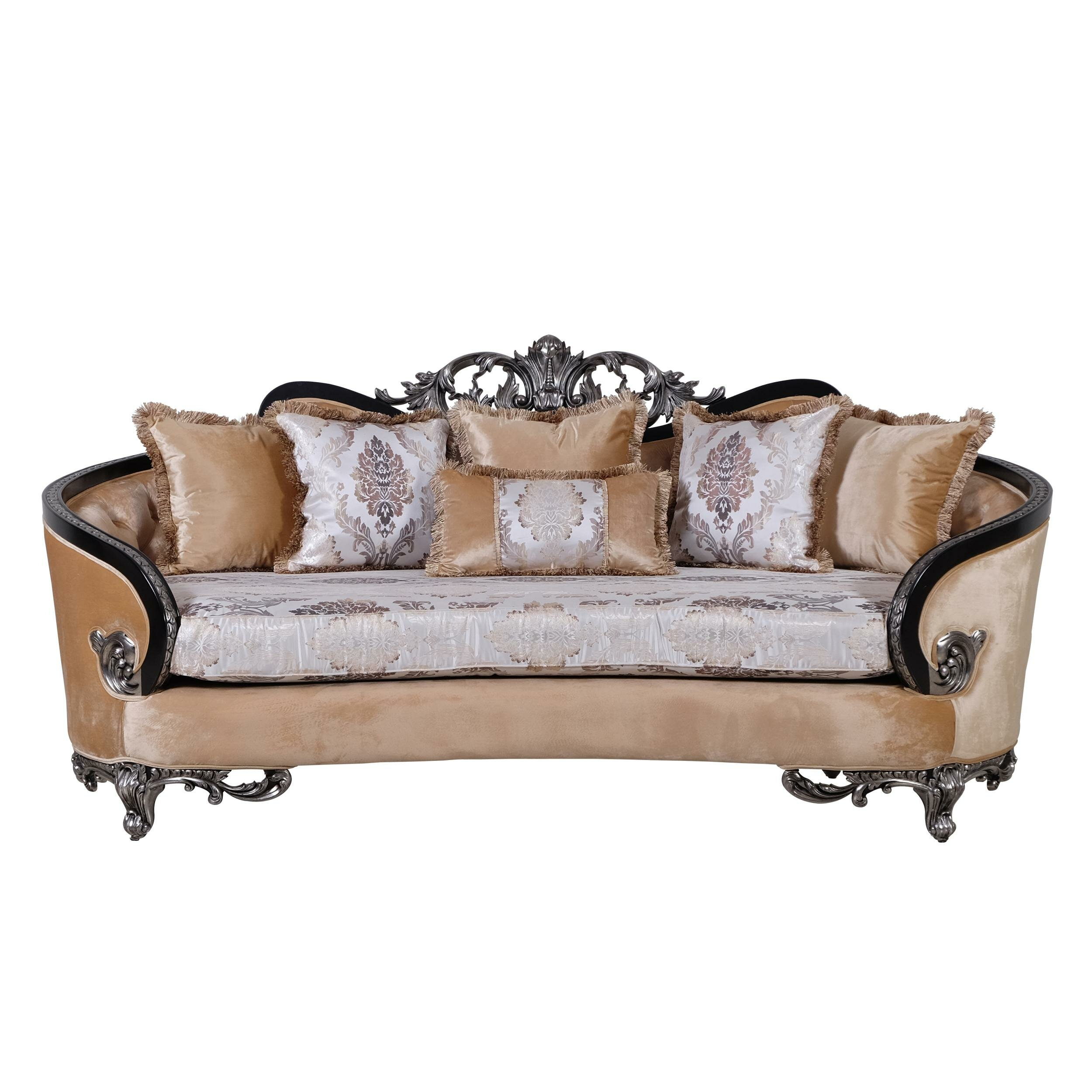 Benjara Classic Wooden Curved Sofa With Intricate Engravings Beige And Black Wayfair