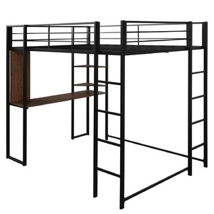 Camas Metal Loft Bed with Desk and Shelves