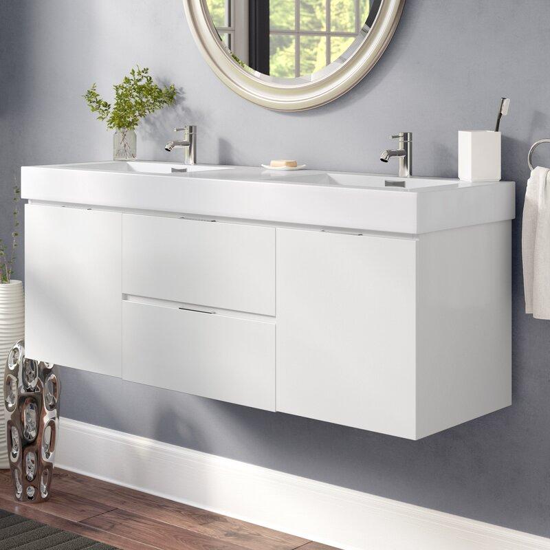 tenafly 59 wall mounted double bathroom vanity set - Wall Mount Bathroom Vanity