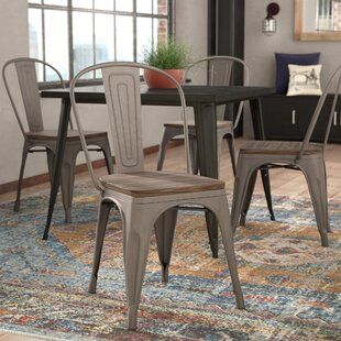 Linneus Industrial Metal Solid Wood Dining Chair (Set Of 4)