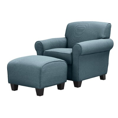 Aine Armchair and Ottoman Upholstery Color: Caribbean Blue Linen by Andover Mills
