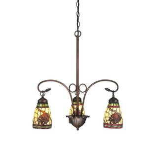 Meyda Tiffany Lodge Pinecone Dome 3-Light Shaded Chandelier