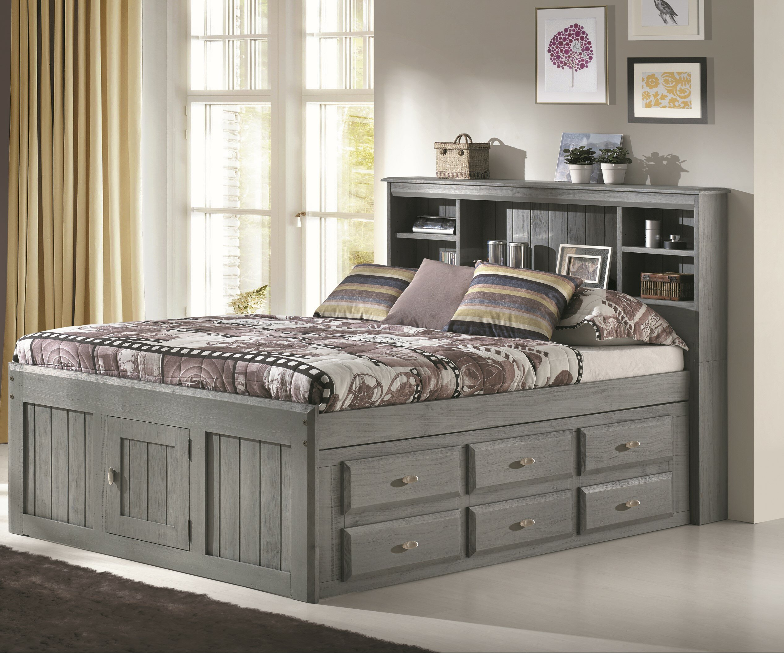 Image of: Birch Lane Boles Full Panel Bed With 6 Drawers Reviews Wayfair