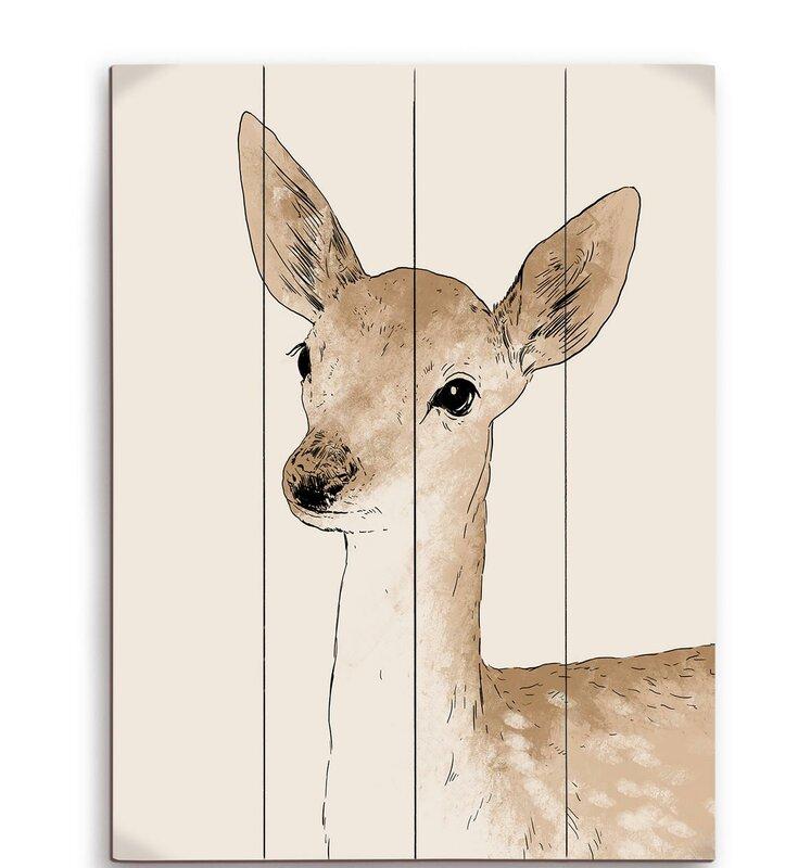Deer Wall Art click wall art painted deer graphic art plaque & reviews | wayfair