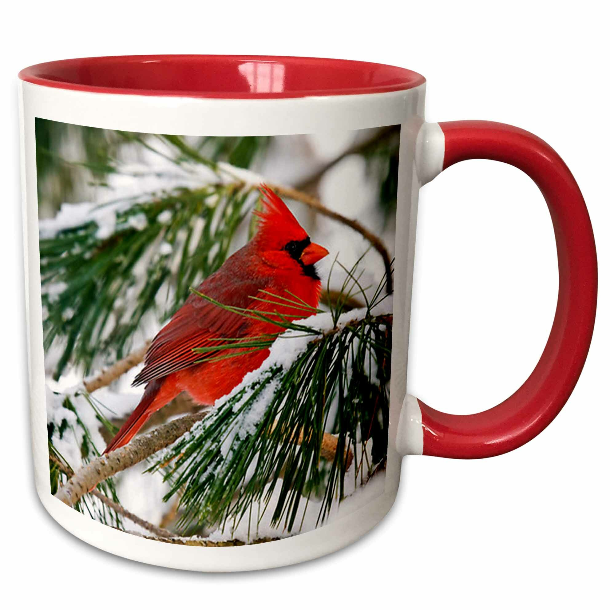 The Holiday Aisle Oehler Cardinal Perched In Snowy Pine Tree Coffee Mug Wayfair
