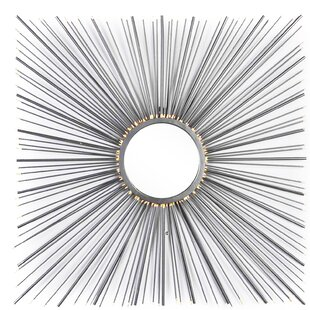 Bungalow Rose Mable Square Metal Sunburst Mirror