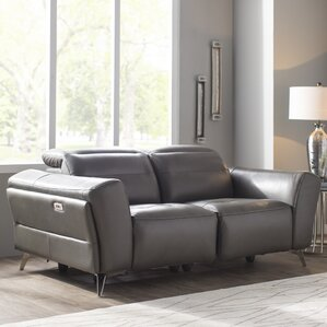 Paille Leather Reclining Loveseat by O..