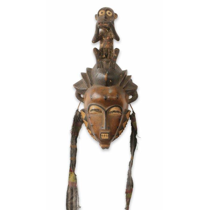 Baule He Monkey African Tribal Mask Wall Décor