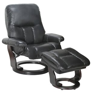 Febe Leather Manual Swivel Recliner with Ottoman by Red Barrel Studio