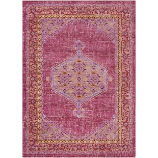Great Price Almaraz Bright Pink/Bright Orange Area Rug By Bungalow Rose