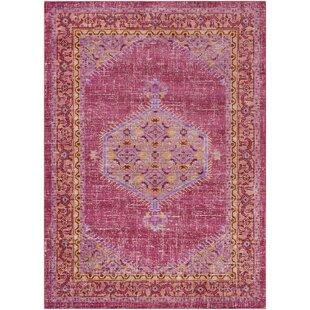 Affordable Price Almaraz Bright Pink/Bright Orange Area Rug ByBungalow Rose