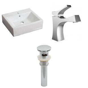 Find for Ceramic 17 Wall Mount Bathroom Sink with Faucet and Overflow ByAmerican Imaginations