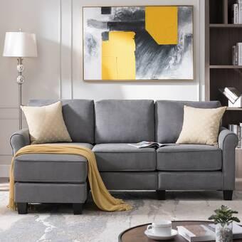 Mercer41 Hafsa 115 Velvet Reversible Sleeper Sofa Chaise Reviews Wayfair