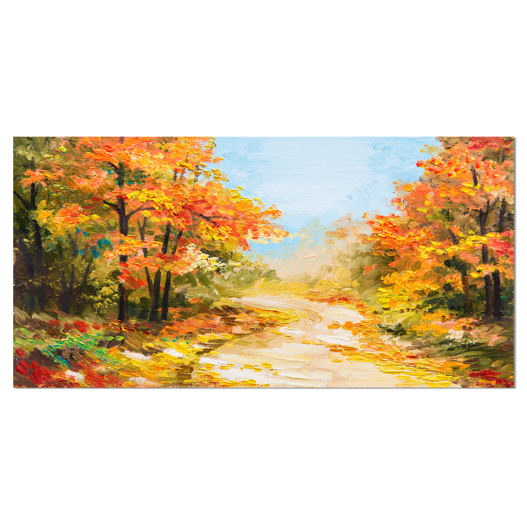 DesignArt Path in Autumn Forest Landscape Painting Print on Wrapped ...