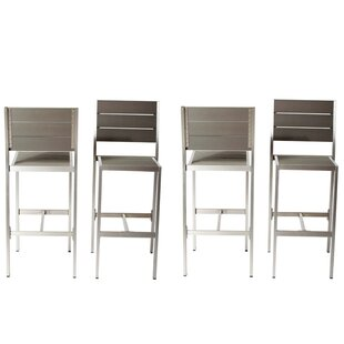 Barker Modish and Height Anodized Aluminum Armless 4 Piece Patio Bar Stool Set by Brayden Studio