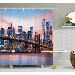 Brunelle Sunrise in Brooklyn Bridge Single Shower Curtain