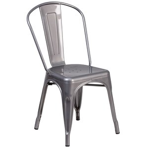 Roberto Clear Coated Metal Side Chair by Williston Forge