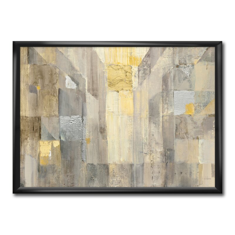 East Urban Home Gold Square Watercolor Picture Frame Print On Canvas Wayfair