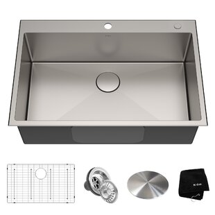 Standart PRO 16 Gauge 33 x 22 Drop-In Kitchen Sink with Bottom Grid, Drain Assembly and Drain Cap by Kraus