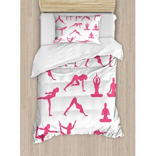 East Urban Home Women Silhouettes in Different Positions Flexibility Aerobics Workout Action Duvet Set