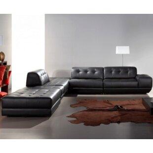 Orren Ellis Coalpit Heath Leather Sectional