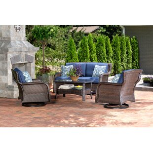 Brayden Studio Billington 4 Piece Rattan Conversation Set with Cushions