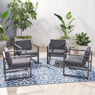 Ivy Bronx Maud Patio Chair with Cushions (Set of 4)
