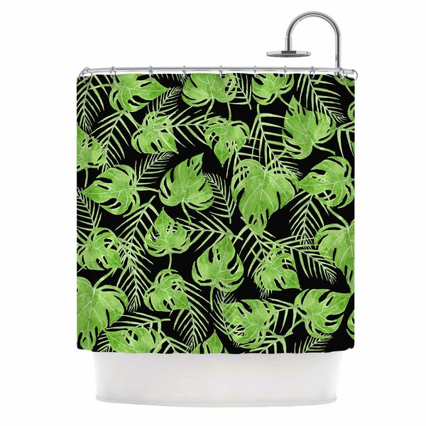Shower Curtain Green Leaves | Wayfair