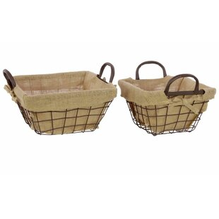 Lined Metal Wire 2 Piece Basket Set With Fabric And Metal Handles