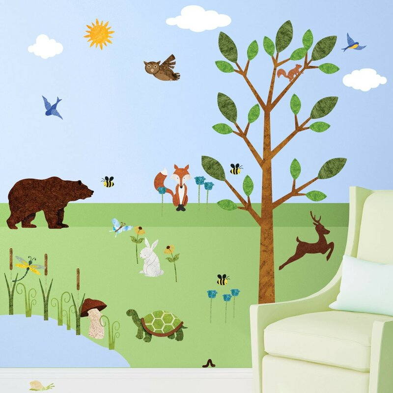 My Wonderful Walls Forest Peel and Stick Woodland Wall Decal ...