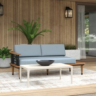 Clary Teak Lounge Patio Daybed with Cushion Spruce by Mercury Row