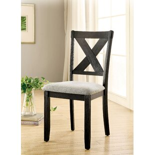 Ainsley Upholstered Cross Back Side Chair in Brushed Black Set of 2
