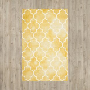 Hand-Tufted Wool Yellow/Ivory Area Rug by House of Hampton