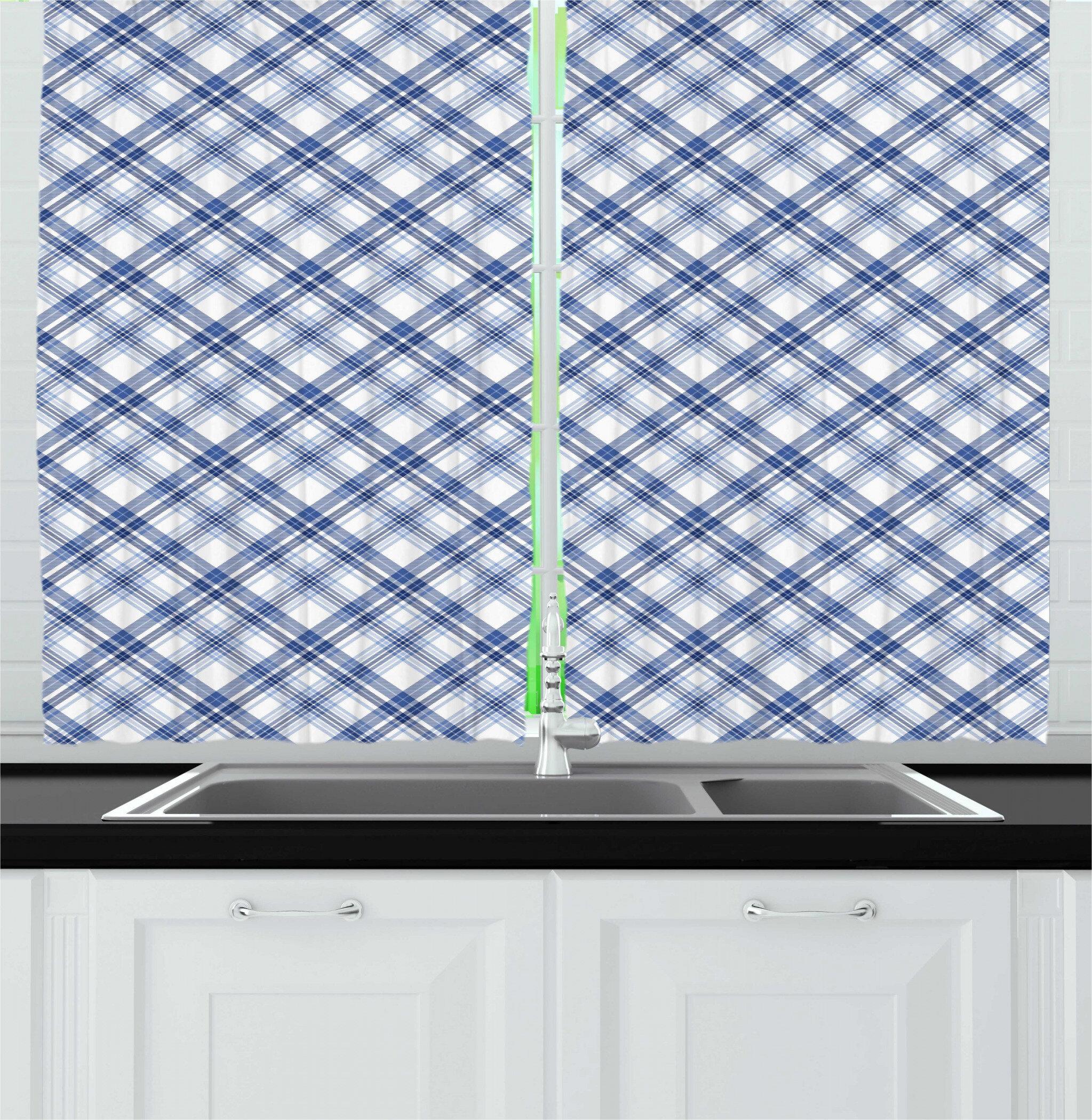 East Urban Home 2 Piece Navy Plaid Arrangement Of Overlapped Diagonal Lines Fashion Print Kitchen Curtain Set Wayfair