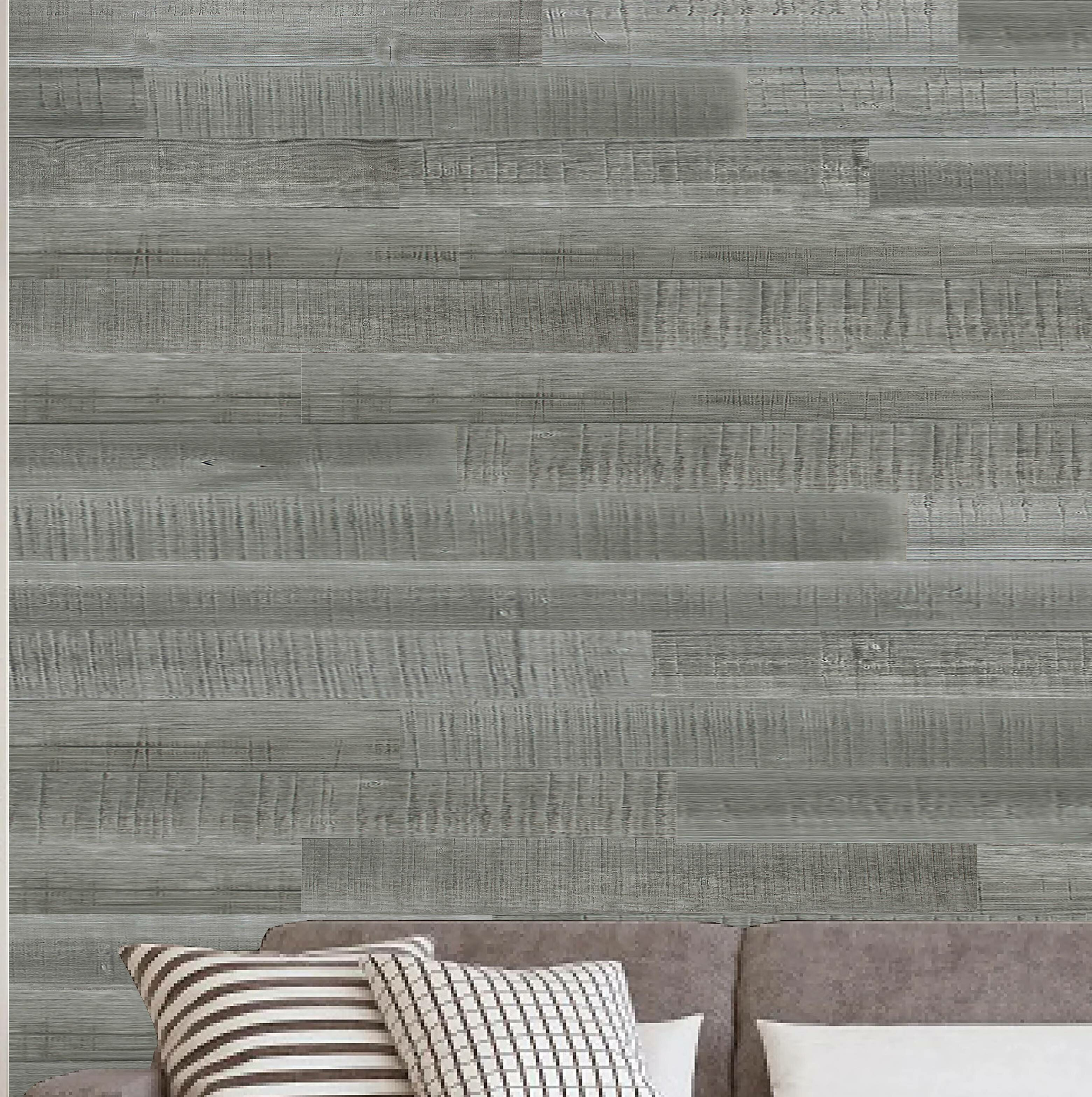 Picture of: Porpora 6 X 47 Reclaimed Peel And Stick Solid Wood Wall Paneling In Gray Wayfair