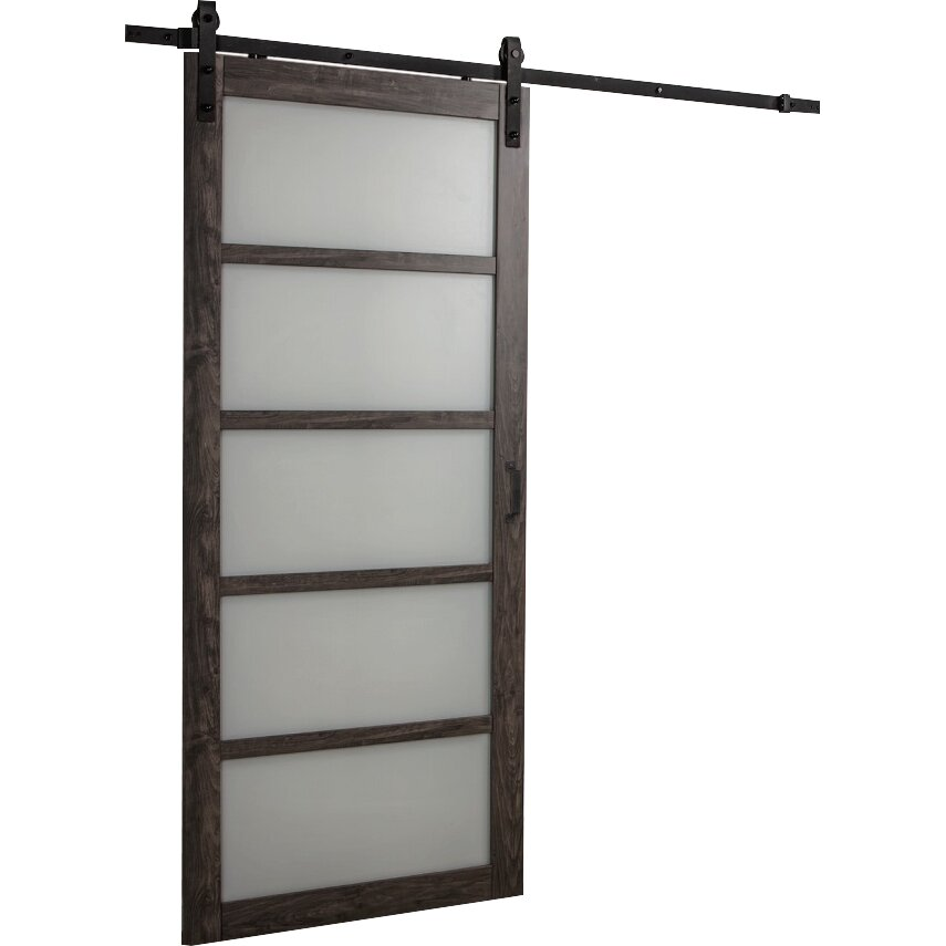 Erias home designs continental frosted glass 1 panel ironage laminate interior barn door Interior doors frosted glass