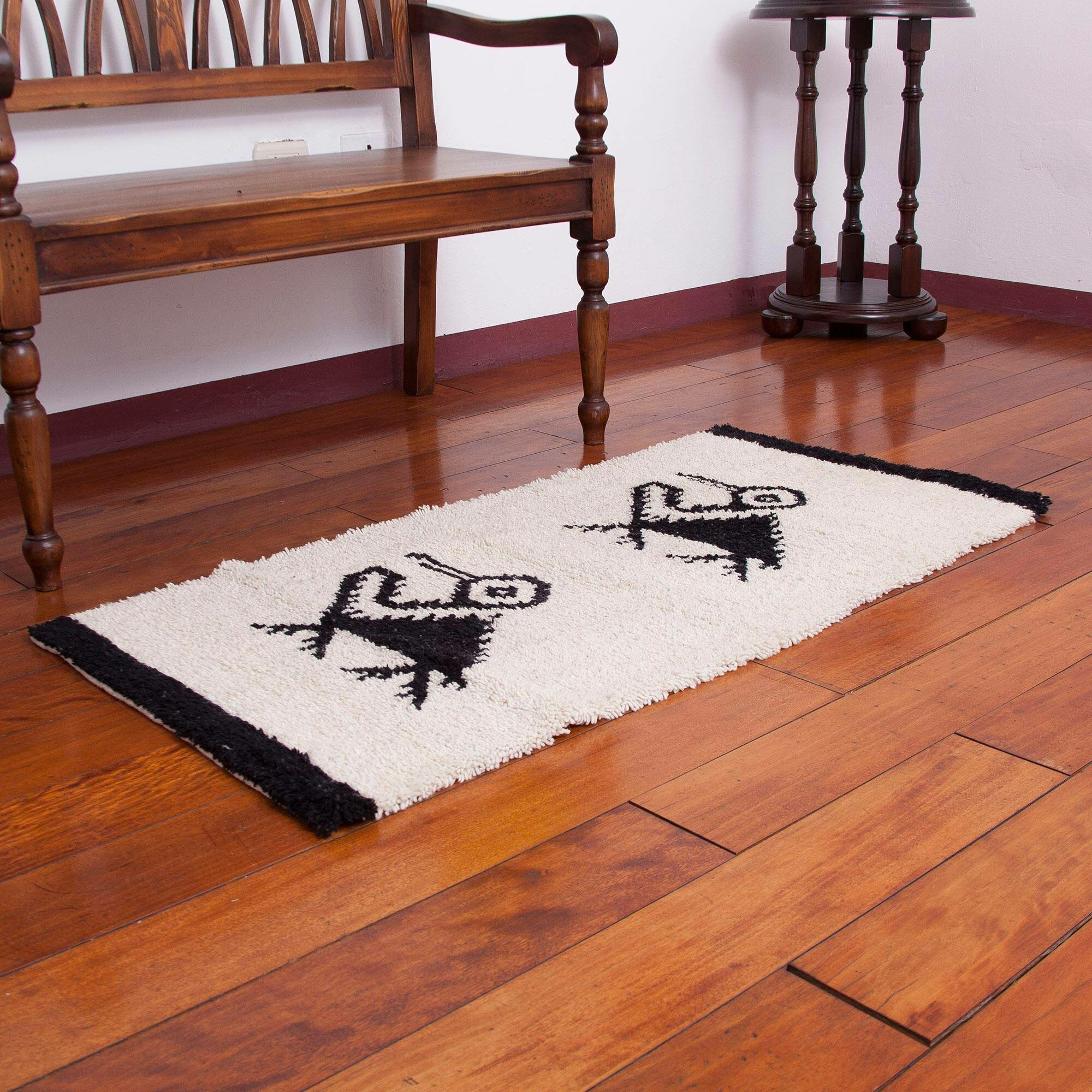 World Menagerie Joziah Pelican Paradise Hand Knotted Wool Black Area Rug
