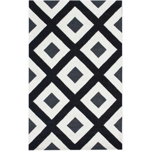 Trapp Diamonds Hand-Tufted Wool Black/White Area Rug By Orren Ellis