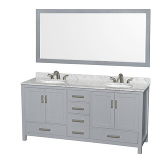 Sheffield 72 Double Gray Bathroom Vanity Set with Mirror By Wyndham Collection