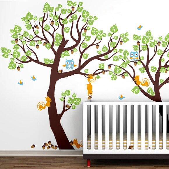 Pop Decors Lovely Pine Tree Baby Nursery Tree With Animals Wall - Kids tree wall decals