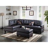 104 Wide Faux Leather Right Hand Facing Sofa & Chaise with Ottoman by Infini Furnishings
