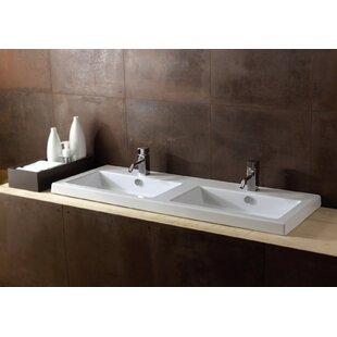 Budget Cangas Ceramic Rectangular Drop-In Bathroom Sink with Overflow By Ceramica Tecla by Nameeks