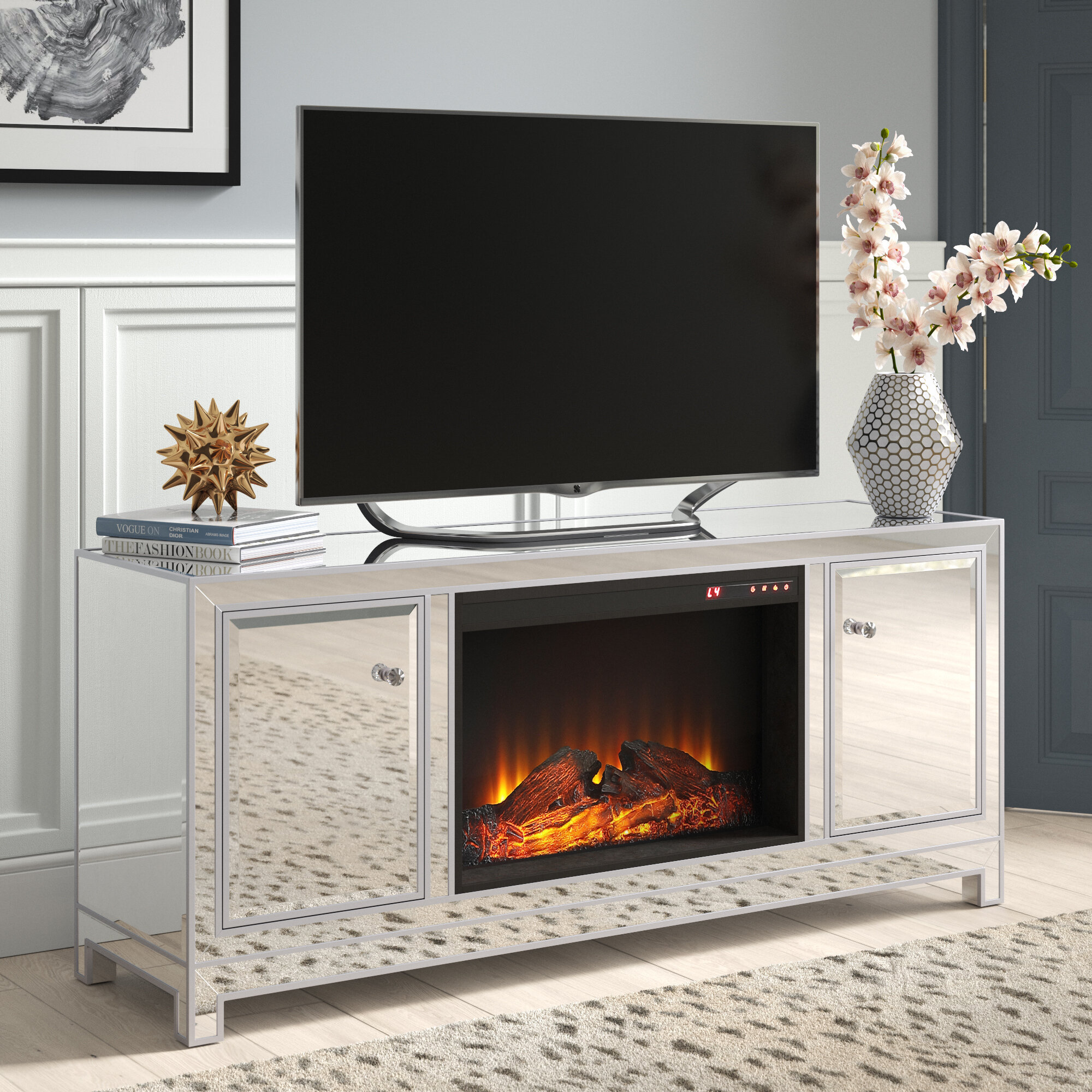 House Of Hampton Laylah Tv Stand For Tvs Up To 70 With Fireplace