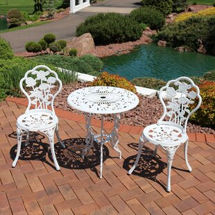 Montour Flower Designed Cast Aluminum 3-Piece Bistro Set by Ophelia & Co.