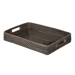 Cresthaven Rectangular Rattan Serving Tray by Highland Dunes