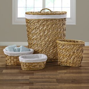 Rosecliff Heights Wicker Laundry Hamper & Waste Basket Set